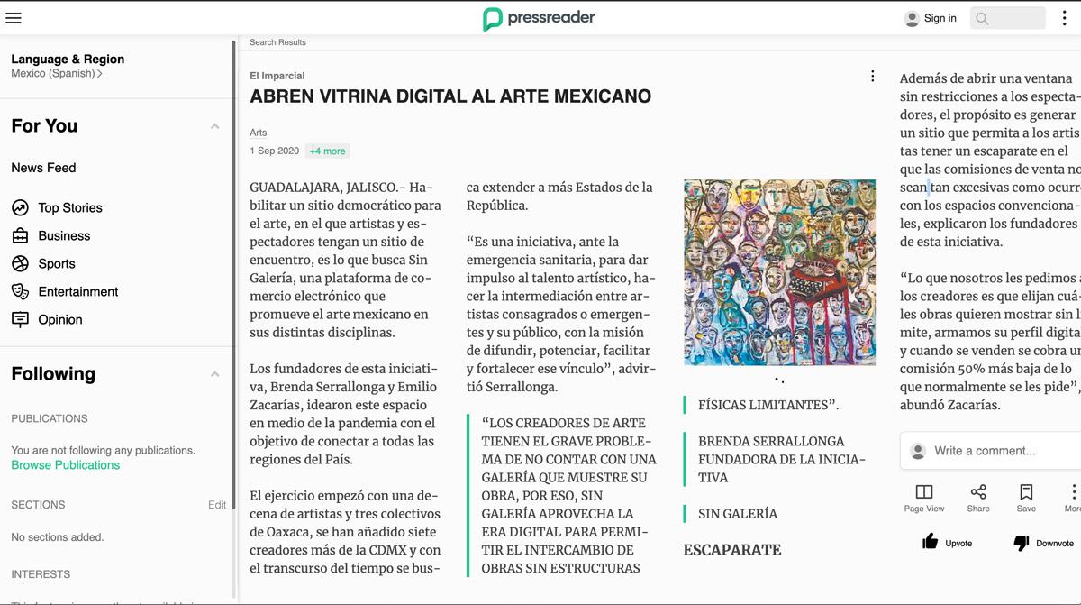 Sin Galeria, Abren vitrina digital al arte mexicano